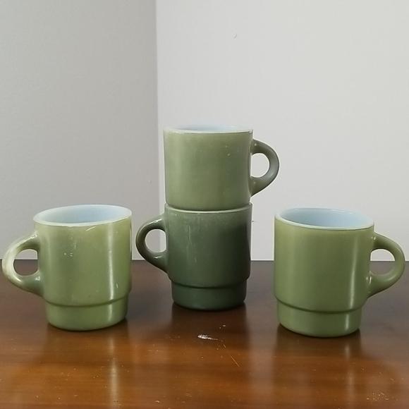 Fire King Vintage Olive Green Stacking Mugs 4